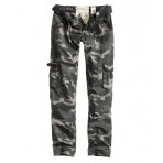 Reisitaskuhousut, Ladies premium, slimmy, black Camo